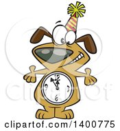 Clipart Of A Cartoon Party Dog With A Count Down Clock Body Royalty Free Vector Illustration by toonaday