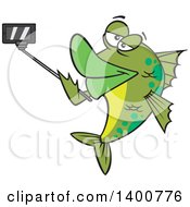 Clipart Of A Cartoon Green Fish Taking A Portrait With A Selfie Stick Royalty Free Vector Illustration
