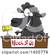 Clipart Of A Cartoon Black Sheeppreneur Selling Wool Royalty Free Vector Illustration