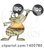 Clipart Of A Cartoon Strong Flea Lifting A Heavy Barbell Royalty Free Vector Illustration