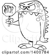 Cartoon Black And White Monster Holding A Stop Sign