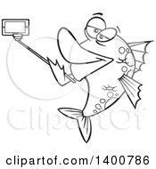 Clipart Of A Cartoon Black And White Fish Taking A Portrait With A Selfie Stick Royalty Free Vector Illustration by toonaday