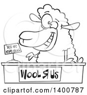 Cartoon Black And White Sheeppreneur Selling Wool