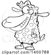 Clipart Of A Cartoon Black And White Sheep With Spotted Wool Royalty Free Vector Illustration by toonaday