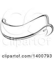 Black And White Calligraphic Ribbon Banner Design Element