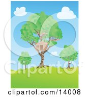 Big Tree House In A Lush Tree On A Hill Under A Blue Sky With Puffy White Clouds