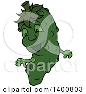 Clipart Of A Cartoon Cucumber Character Mascot Royalty Free Vector Illustration