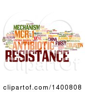Clipart Of A Antibiotic Resistance Mechanism MCR1 Tag Word Collage On White Royalty Free Illustration
