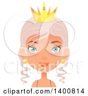 Clipart of a Blue Eyed Fairy Woman Wearing a Crown - Royalty Free Vector Illustration by Melisende Vector