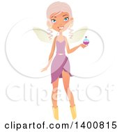 Clipart Of A Blue Eyed Fairy Woman Holding A Potion Royalty Free Vector Illustration