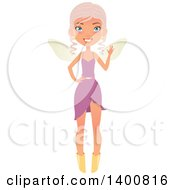 Clipart Of A Blue Eyed Fairy Woman Waving Royalty Free Vector Illustration by Melisende Vector