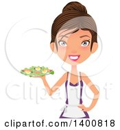 Clipart Of A Happy White Female Chef Wearing An Apron And Serving A Salad Royalty Free Vector Illustration