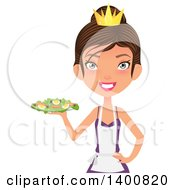 Clipart Of A Happy White Female Chef Wearing An Apron And Crown And Serving A Salad Royalty Free Vector Illustration