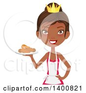 Happy Black Female Chef Wearing An Apron And Crown And Serving Fried Chicken