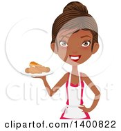 Clipart Of A Happy Black Female Chef Wearing An Apron And Serving Fried Chicken Royalty Free Vector Illustration
