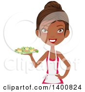 Clipart Of A Happy Black Female Chef Wearing An Apron And Serving A Salad Royalty Free Vector Illustration