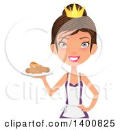 Happy White Female Chef Wearing An Apron And Crown And Serving Fried Chicken