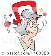 Cartoon Senior White Woman With A Bad Migraine Headache Depicted As Clamp On Her Head