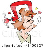 Cartoon Brunette White Woman With A Bad Migraine Headache Depicted As Clamp On Her Head