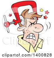 Cartoon Brunette White Man With A Bad Migraine Headache Depicted As Clamp On His Head