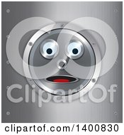 Clipart Of A Surprised Robot Face In A Frame Over Brushed Metal Royalty Free Vector Illustration
