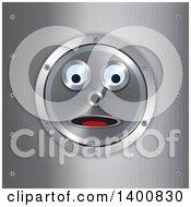 Surprised Robot Face In A Frame Over Brushed Metal