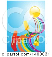 Clipart Of 3d Ice Pops Floating On A Twisted Rainbow Under A Sun And Sky Royalty Free Vector Illustration by elaineitalia