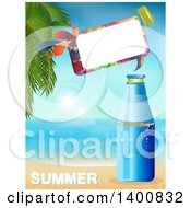 Plastic Water Bottle With A Speech Bubble On A Tropical Beach Over Summer Text