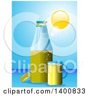 Summer Sun Blaring Down On A Beer Bottle And Cup