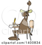 Clipart Of A Cartoon Moose Student Raising His Hand At A School Desk Royalty Free Vector Illustration