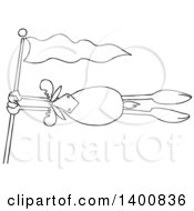 Clipart Of A Cartoon Lineart Moose Holding Onto A Flag Post In A Wind Storm Royalty Free Vector Illustration