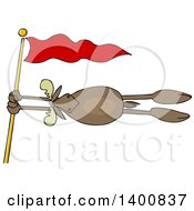 Clipart Of A Moose Holding Onto A Red Flag Post In A Wind Storm Royalty Free Vector Illustration
