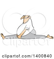 Cartoon White Man Doing The Splits With A Painful Expression