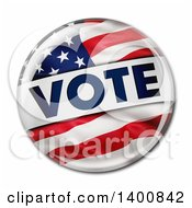 Clipart Of A 3d American Flag Political VOTE Button Pins On A White Background Royalty Free Vector Illustration