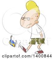 Cartoon Annoyed Blond White Teenage Boy Walking And Kicking A Can