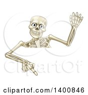 Clipart Of A Cartoon Human Skeleton Waving And Pointing Down Over A Sign Royalty Free Vector Illustration by AtStockIllustration