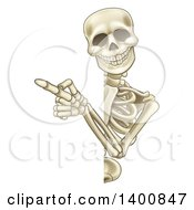 Clipart Of A Cartoon Human Skeleton Pointing Around A Sign Royalty Free Vector Illustration