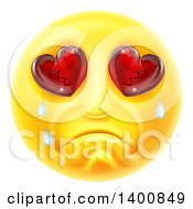 Poster, Art Print Of Crying Yellow Smiley Face Emoji Emoticon With Broken Heart Eyes