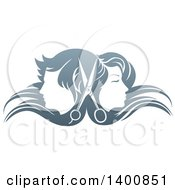 Pair Of Scissors Between Male And Female Faces Back To Back In Profile With Long Hair Waving In The Wind