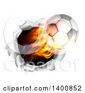 3d Flying Flaming Soccer Ball Breaking Through A Wall