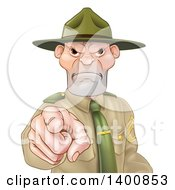 Clipart Of A Mad Caucasian Male Army Boot Camp Drill Sergeant Pointing At You Royalty Free Vector Illustration