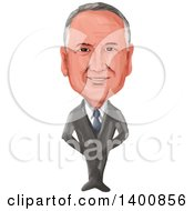 Clipart Of A Watercolor Caricature Of The 38th Prime Minister Of New Zealand John Phillip Key Royalty Free Vector Illustration