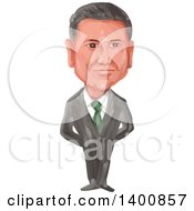 Clipart Of A Watercolor Caricature Of The President Of Mexico Enrique Pena Nieto Royalty Free Vector Illustration