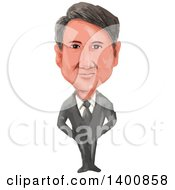 Clipart Of A Watercolor Caricature Of The Primie Minister Of Canada Justin Pierre James Trudeau Royalty Free Vector Illustration