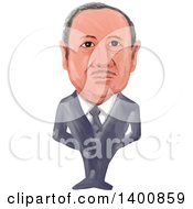Watercolor Caricature Of The 14th President Of Turkey Recep Tayyip Erdogan