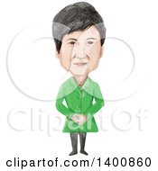 Watercolor Caricature Of The 11th President Of The Republic Of Korea Park Geun Hye