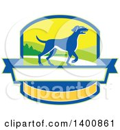 Clipart Of A Retro Blue Pointer Dog In A Crest Royalty Free Vector Illustration