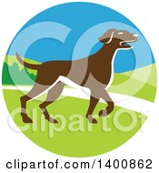 Clipart Of A Retro Brown Pointer Dog In A Landscape Circle Royalty Free Vector Illustration