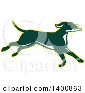 Clipart Of A Retro Green Pointer Dog Running Royalty Free Vector Illustration