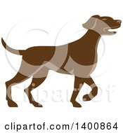 Clipart Of A Retro Brown Pointer Dog Royalty Free Vector Illustration by patrimonio